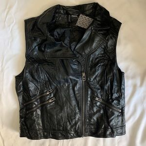 Faux Leather Vest Sleeveless Biker Moto